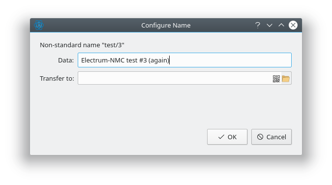 "A screenshot of the ""Configure Name"" dialog in Electrum-NMC."